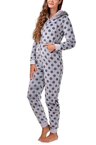 maluuna - Damen Fleece-Onesie mit Bündchen an Arm- und Beinabschluss, extrem kuscheliger Damen Jumpsuit, Overall mit Fell, Einteiler, Homewear, Farbe:grau, Größe:36/38