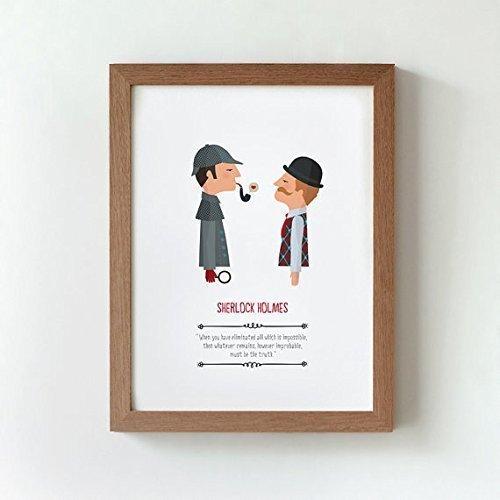 """Ilustración """"Sherlock Holmes"""". Lámina disponible en dos medidas: A4 / A3. Incluye frase de Conan Doyle."""