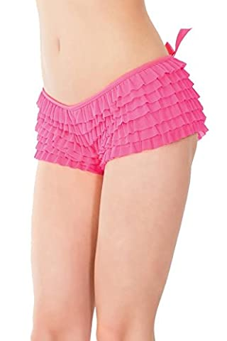 Coquette Frilly Rumba Ruffle Boyshorts Knickers Panty One Size and Plus Sizes Burlesque NEON PINK (Plus Size (UK 14 to 18))