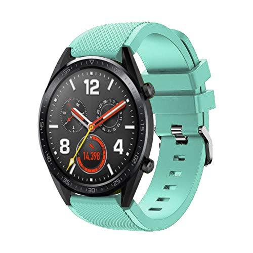 WAOTIER für Huawei Watch GT Armband Silikon Armband mit Grauer Edelstahl Verschluss Armband für Huawei Watch GT Classic Wasserdichter Ersatzarmband Atmungsaktiver Armband (Hellblau)