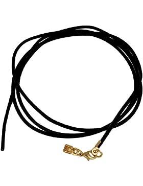 Unbespielt Lederband Kette Collier Halskette Schwarz Damen Herren Kinder Karabinerverschluss Goldfarben 1m Lang...