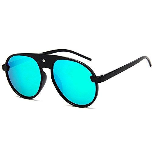 Y-WEIFENG Damen Sonnenbrillen Cool Star Rivet Round für Frauen Übergroßen Rahmen Sonnenbrille Bunte Linse UV Schutz Fahren (Farbe : Silber)