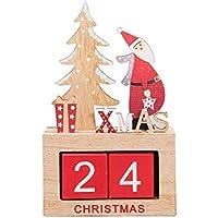 BESTOYARD Weihnachten Santa Dekoration Desktop Holzblock Weihnachten Adventskalender Schreibtisch Ornament für Home Office Dekoration