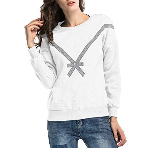 Damen Tops Für Damen Somerl Frauen Casual Bow Print Pullover Tops for Women(Weiß,XXL)