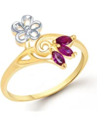 VK Jewels Floral Ruby Beaded Gold and Rhodium Plated Ring - FR1158G [VKFR1158G]