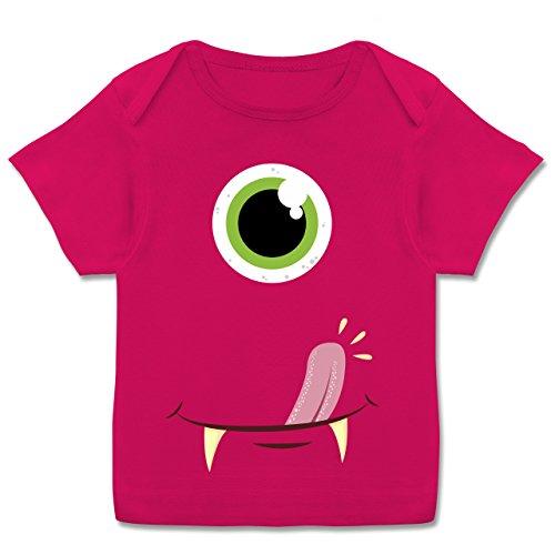 g Baby - Monster Gesicht Kostüm - 68-74 (9 Monate) - Fuchsia - E110B - Kurzarm Baby-Shirt für Jungen und Mädchen ()