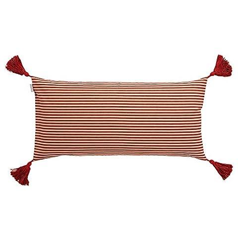 Linum Kissenhülle MOON D90 rot / beige gestreift 35cm x 70cm aus Baumwolle mit Reißverschluss