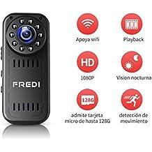 FREDI Cámara Espía HD 1080P Mini Cámara Oculta Portátil Interior/Exterior WiFi Cámara IP de Seguridad Admite tarjeta hasta 128G(no incluye) / (batería incorporada) Vision Nocturna Cámara de Vigilancia