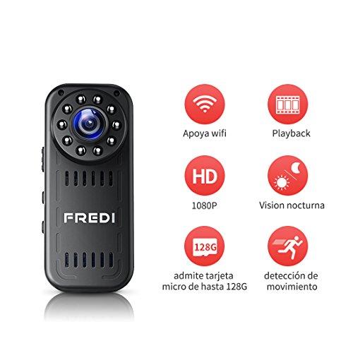 FREDI Cámara Espía HD 1080P Mini Cámara Oculta Portátil Interior/Exterior WiFi Cámara IP de Seguridad Admite tarjeta hasta 128G(no incluye)/(batería incorporada) Vision Nocturna Cámara de Vigilancia