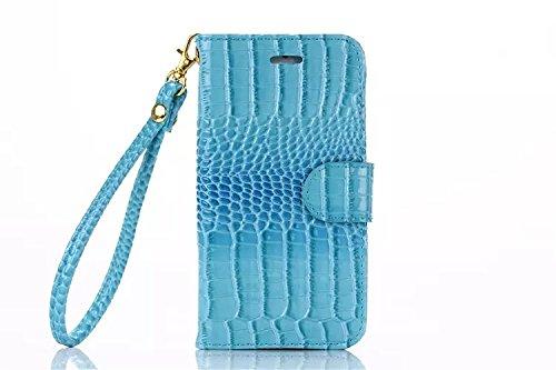 Best Choise coccodrillo Pattern PU Pelle Flip Case per iPhone 6Plus e 6S Plus orizzontali Stand Folio Wallet Holster copertura con Lanyard in grande qualità blu