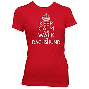 Keep calm and walk the Dachshund ladies pet dog gift womens t shirt[Apparel]