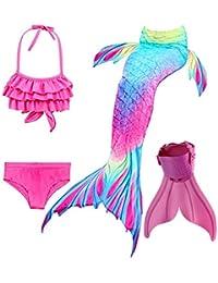 ShePretty Meerjungfrauenschwanz Zum Schwimmen Mädchen Cosplay Prinzessin Kostüm Bikini Badeanzug für Kinder