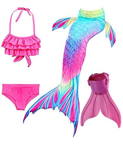 SPEEDEVE Mädchen Meerjungfrauenschwanz Zum Schwimmen mit Meerjungfrau Flosse, 12 (130-140cm), Dh02+wjf48