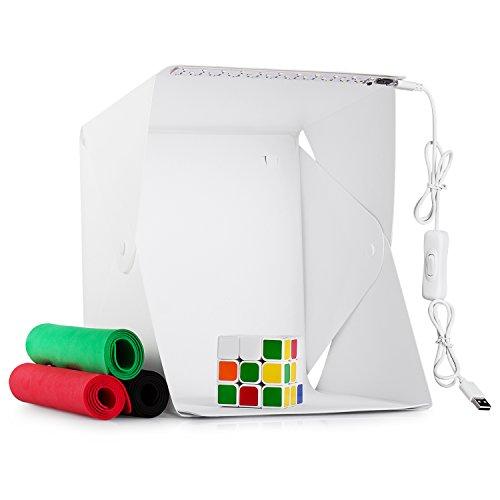 Galleria fotografica Portatile Studio fotografico tenda,Lightbox Mini illuminazione Piccole Shooting Box LED Kit Dimmable Pieghevole Fotografia Light Box Studio con 4 Panni Sfondi