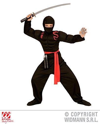 Waffen Kostüme Muskel (KINDERKOSTÜM - SUPER NINJA - Größe 158 cm, asiatischer japanischer Geheimbund Shinobi Kämpfer)