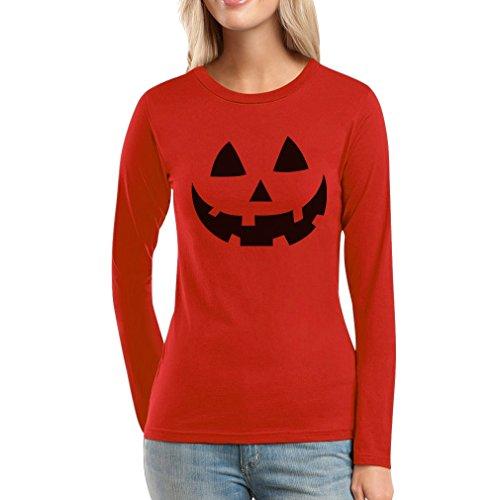 Lustiges Kürbiskopf Gesicht Bestes Halloween Kostüm Frauen Langarm-T-Shirt Large (Kostüme Besten Frauen Halloween)