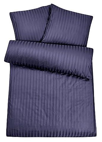 Luxus Damast Hotel-Bettwäsche aus 100% feinster Baumwolle mit Reißverschluss. Der hochwertige & edle Bett-Bezug für das ganze Jahr mit exklusivem Schimmer für besten Schlafkomfort - 135x200 cm, (Blaue Gestreifte Kissen)