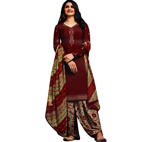 LADYLINE Italian Crepe Embroidered Patiala Salwar Suit Womens Un-Stitched Dress Material (Silkina-16-7442)