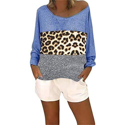 Lazzboy Frauen Langarm V-Ausschnitt Patchwork Pullover T-Shirt Bluse Tops Damen Sommer Casual Kurzarm Oberteil Shirt(Blau,L) (Kostüme Jugendliche Für Black Cat)