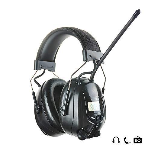 PROTEAR Gehörschutz mit Radio AM FM,MP3-kompatibel,für Industrie,BAU und Mähen Professionelle Lärmreduzierung,SNR 30dB Schwarz