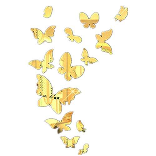 VCB Spiegel Schmetterling 3D Kristall Stereo Wandaufkleber Wohnzimmer Sofa TV Hintergrund - Gold