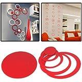 Adhesivo Casa Wallpaper Etiqueta Etiqueta De La Pared Decoración Círculo En Forma De Bricolaje Interior (Roja)