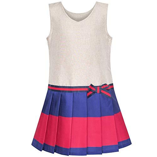 Mädchen Kleid Khaki Marine Gefaltet Rock Zurück Schule Uniform Gr. 116