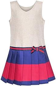 Sunny Fashion Vestido para niña Caqui Uniforme Escolar Plisado Falda 4-12 años