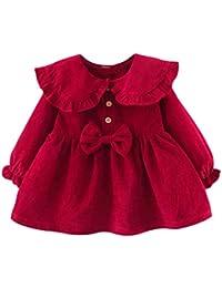 Vestido 6-24 Meses Pana para Bebé Vestidos para Niñas Princesa Infantil Falda Fiesta con Bowknot Solapa de Encaje Color Sólido Mangas Elásticas Lindo