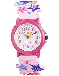 Reloj niña chica infantil, analógico de cuarzo ESTRELLAS en caja de regalo, Resistente al agua, Mecanismo Seiko, Batería Sony, Rosa, Kiddus RE0251