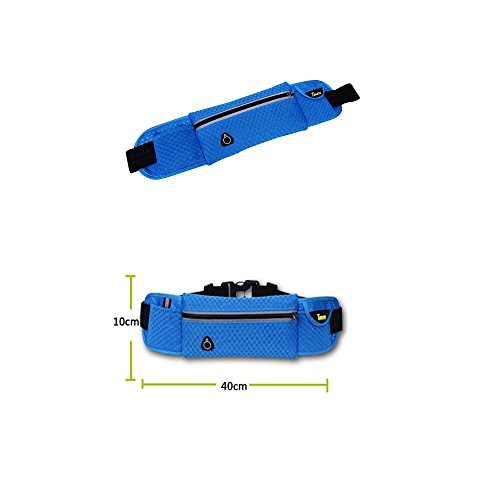 Ajew Sport elastische Bauchtasche Hüfttasche gürteltasche-Gürteltasche / Bauchtasche / Lauftasche für Laufen, Wandern, Klettern, Reiten / leuchtet in der Nacht Schwarz + blau