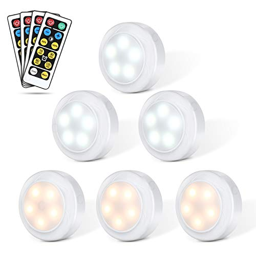 Pack de 6 luces LED regulables con mando a distancia Yissvic