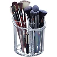 Relaxdays, Ø15 cm, Organizador para brochas de Maquillaje, Redondo, Plástico, Cuatro Compartimentos, Transparente, acrílico