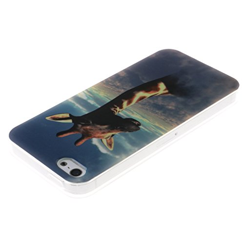 iPhone SE Coque, MOONCASE iPhone 5S Cover Case Fit Soft Silicone Housse avec Coque de Protection en TPU Etui pour iPhone SE / 5S / 5 - DD10 Série Colore - DD09