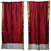 Mogul Interior 2 Indian Silk Sari Maroon Brocade Border Bedroom Decor Curtains 84x44
