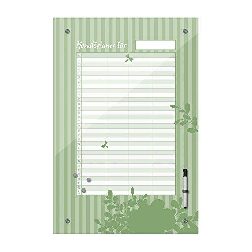, Monatsplaner für Alle - grün - Dekoration, Küche, Flur, Wohnzimmer, Familie, Ideal für Termine - Geburtstage und Notizen, Bild auf Glas, Floral ()