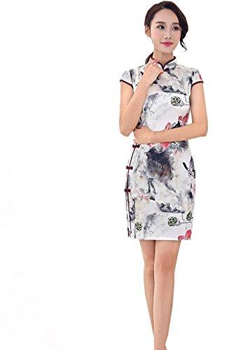 YueLian Damen Frauen Sommer Retro QiPao Kleid Cheongsam Kurze Etuikleid in eine Farben
