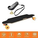 Hiriyt Nouveau Skateboard Électrique Longboard Skateboard avec Télécommande sans Fil Bluetooth, Planche Longue 7 Couches de Planche Feuille D'érable Solide, Vitesse Maximale 20 km/h (Noir)