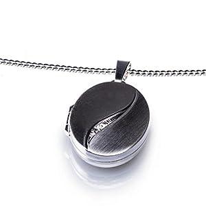 Anhänger Medaillon oval mit Zirkoniastein zum öffnen 925/- Sterling Silber 17 x 24 mm, Panzerkette inkl. Gravur