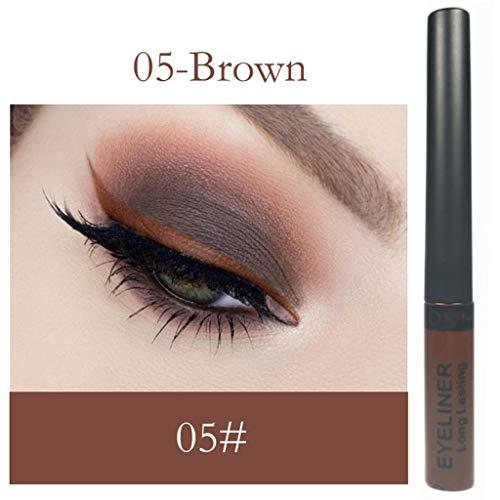 Eyeliner Liquide Pigments métalliques yeux Smoky Waterproof Eyeshadow Matte Eyeliner liquide crayon fard à paupières (E)