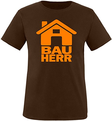 Luckja Bauherr Herren Rundhals T-Shirt Braun/Orange