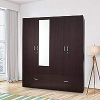 HomeTown Utsav Engineered Wood Four Door Wardrobe in Wenge Colour
