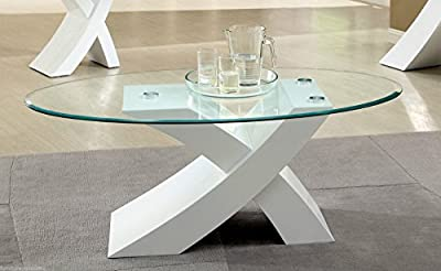 "Designer WHITE ""X"" MILANO High Gloss & Glass Coffee Table Modern Furniture* - inexpensive UK light store."