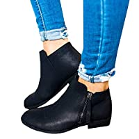 Chelsea Boots Women Flat Heeled Block Heel Suede Ankle Leather Winter Lace Ladies Casual Comfortable Chunky 2.5cm Low Shoes Beige Black Grey 3-7UK(35-43EU)(35-43EU)