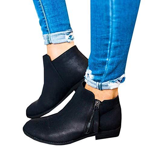 Hafiot Chelsea Boots Damen Ankle Stiefeletten Kurzschaft Wildleder Leder mit Absatz Kurze Reissverschluss 2.5cm Winter Stiefel Beige Grau 35-43 BK42
