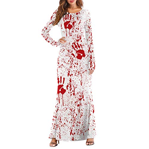 (MIRRAY Damen Langarm Kleider Halloween Kürbisse 3D Print Casual Party Lange Maxi Kostüm)