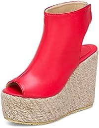 HOESCZS 2018 di Alta qualità di Grandi Dimensioni 32-43 Sandali Donna Moda  Pompe Zeppa Tacchi Alti Piattaforma… 2007a62c438