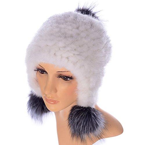 Ysting Cappellino invernale Knit visone cappello di pelliccia Cappelli grano Knit della pelliccia del visone delle donne con pompon