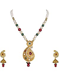 DS Gold Plated Party Wear Traditional Necklace Set With Earrings For Women And Girls