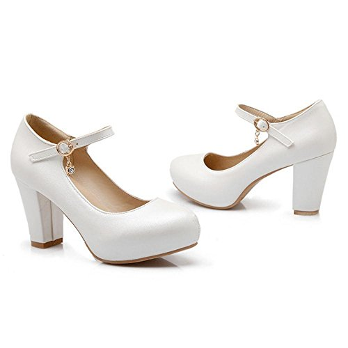 TAOFFEN Damen Elegant High Heel Blockabsatz Party Pumps Mit Schnalle White  ...